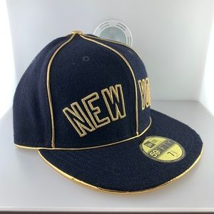 New Era New York Yankees Black Gold Cap Sz 7 1/2